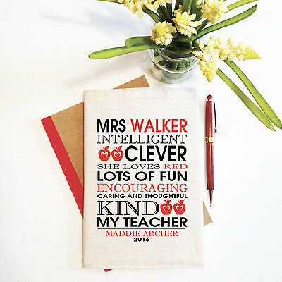 My Teacher (Red) Teacher Personalised Teacher Notebook With Reusable Cover Gift