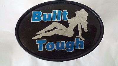 """Tow Hitch Plug Cover Built Tough Naked Lady Blue Black Silver  5"""" x 3 1/4"""""""