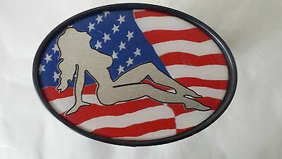 """Tow Hitch Plug Cover American Flag USA Red White Blue Naked Lady  5"""" x 3 1/4"""""""