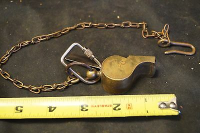 Antique 1900 - 1920 Brass Police or Military Whistle W/ Chain