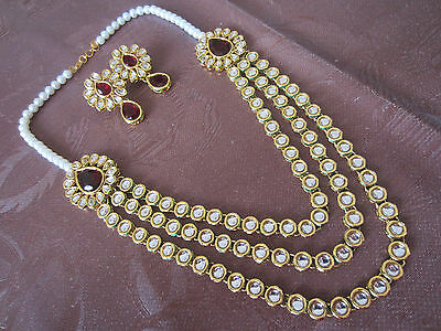 Gold Plated Indian Wedding/party Maroon Stone & Pearl Necklace/earrings Set, Bn