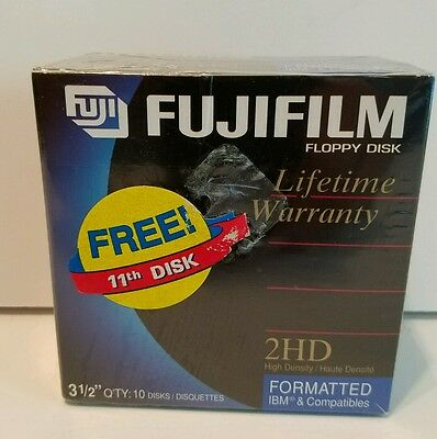 Fujifilm 2HD floppy disks 10 pack plus 1 new sealed 3.5 inch