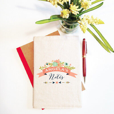 Floral Banner Personalised Mother's Day Notebook With Reusable Cover Gift