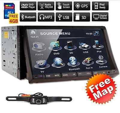 "7"" HD Touch Screen Double 2 DIN Car GPS Stereo DVD Player SD Bluetooth Radio+Cam"