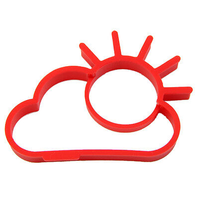 Red Sunny side Up Egg Shaper Ring Silicone Mold Pan Cook Breakfast Chef J1S9