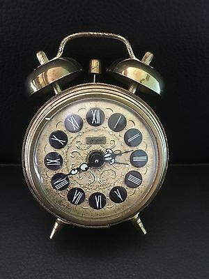 Vintage Jerger West Germany Alarm Bell With Roman Numeral - Desk / Table Clock