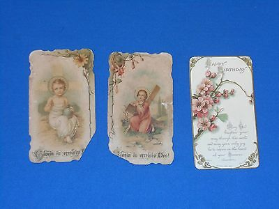 """3 Vintage Cards 2-Religious or Prayer & 1-Birthday Approximately 4 1/4"""" X 2 3/8"""""""