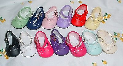"""DOLL Shoes, 68mm Heart Cut fit Bitty Baby, Tiny Chatty Baby, 18"""" Sasha - RED"""