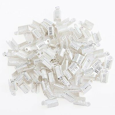 100 Silver Plated End Cap Crimp Beads Findings 12x6mm HOT B4U3