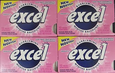 4 Pack of Excel Sugar-Free Gum 4x12/48pcs Free Shipping within Canada, US