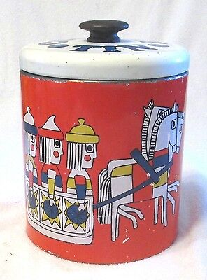 Ransburg Cookie Tin Vikings on Sled Primitive Art Horses Red Vintage Canister