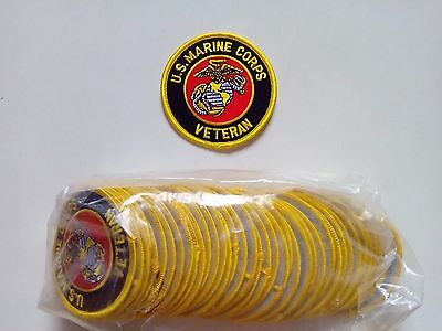 "50 US MARINE CORPS USMC VETERAN Embroidered Patches 3"" Diameter"