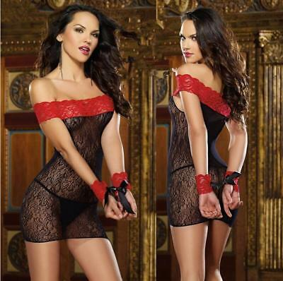 Women's Lace Mesh Net Lingerie Dress Nightwear Underwear Babydoll Sleepwear SET
