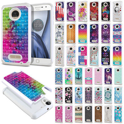 For Motorola Moto Z Play Droid XT1635 Design Bling Hybrid Silicone Case Cover