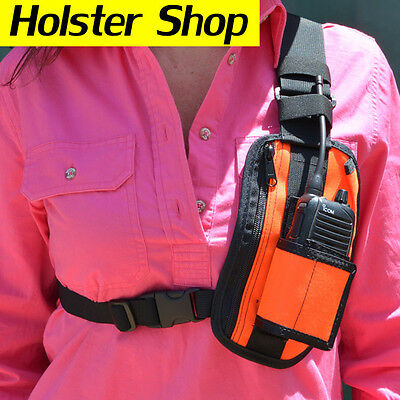 UHF Hand Held Two Way Radio Holster Holder with Zip Pocket - Allrounder Hi Vis