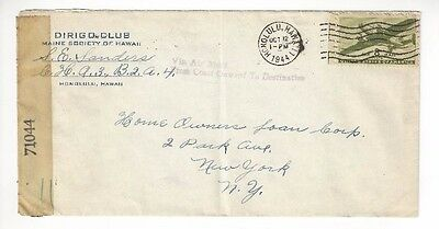 1944, Honolulu Hawaii Part Paid Airmail, Censored