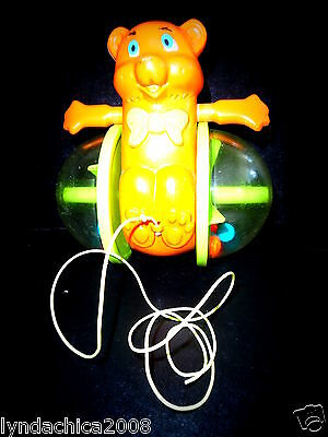 Vintage Fisher Price BOB ALONG BEAR Pull Toy 1978 (6 INCHES)