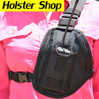 UHF Hand Held Two Way Radio Holster Holder & Zip Pocket - Allrounder Fixed Pouch