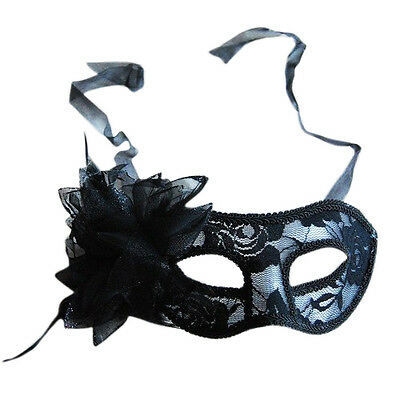 Black Lace Flower & Feather Venetian Masquerade Party Eye Mask M3S0