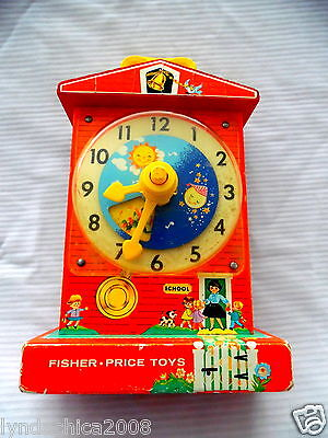 Vintage Fisher Price TEACHING CLOCK Music Box WORKS AMAZING