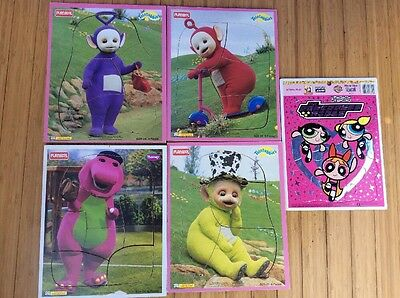 Playskool Teletubbies Barney Power Puff Girls Wood Board Frame Tray Puzzles