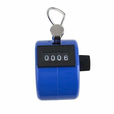 Hot Sale 46*31 Blue Hand held 4 Digit Number Tally Counter Clicker Golf M3S0