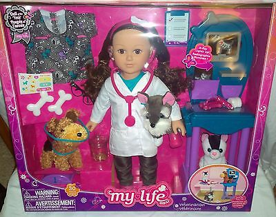 "New MY LIFE AS 18"" BRUNETTE VETERINARIAN /VET 30 PIECE SET 2016 DOLL OF THE YEAR"