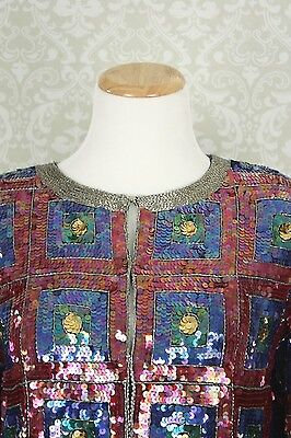 Vtg 80s 90s Silk Sequin Bead Geometric Trophy Glam Deco Party Red Blue Jacket Sm