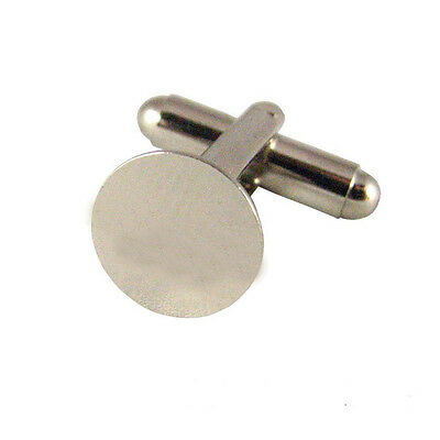 50 (25 pairs) Silver French Cuff Links Blanks-10mm Glue Pads M3S0