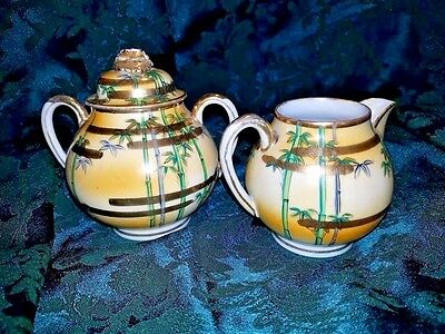 Yellow Bamboo and Gold Trimed Creamer & Sugar bowl w/ lid set Vinage Porcelain
