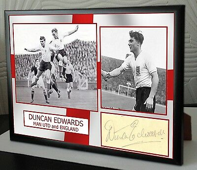 Duncan Edwards Signed Tribute Framed Great Gift