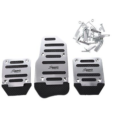 3 Pcs Black Silver Tone Metal Plastic Nonslip Pedal Cover Set for Car Y1