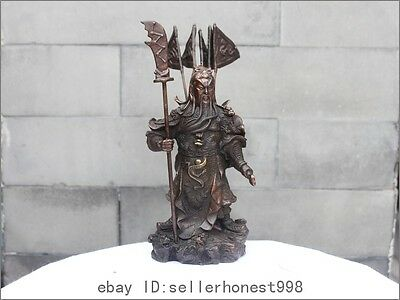 Chinese Bronze Copper Guan Gong toting five banners Dragon Sword Statue