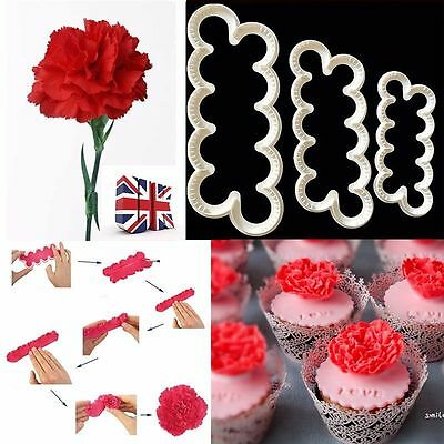 3Pcs 3D Carnation Petal Flower Cutter-Fondant Icing Cake Decorating UK
