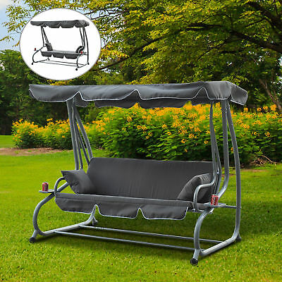 Outsunny Swing Chair Outdoor Garden Patio Metal 3 Seater Bench Hammock Canopy