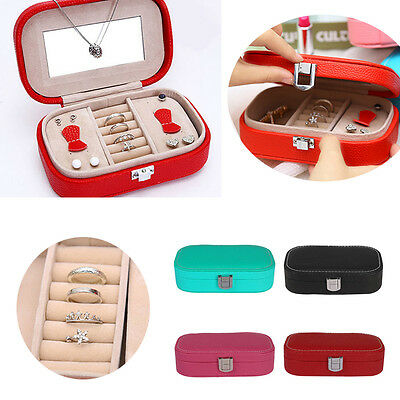 New Leather Travel Jewellery Box Earring Ring Case Necklace Square Storage Case