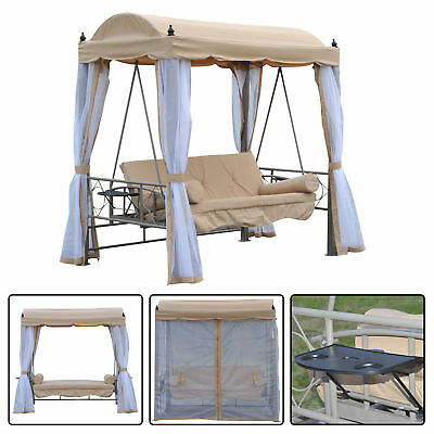 Outsunny 3 Seat Swing Chair Folding Cushioned Bed Outdoor Steel W/ Canopy 81""