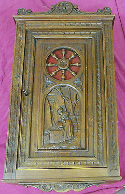 Antique  french breton Carved wall cupboard cabinet oak