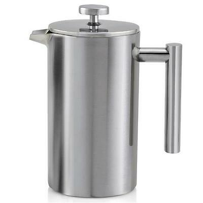 Used B Double Wall Stainless Steel Cafetiere Ground Hot Filter Press Plunger