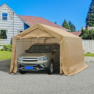 Outsunny 10.5' x 17' Carport Canopy Tent Garden Party Tent Car Shelter Beige
