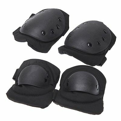 B6 4Pcs Outdoor Adults Sports Tactical Knee Elbow Protective Pads Skating Skiing