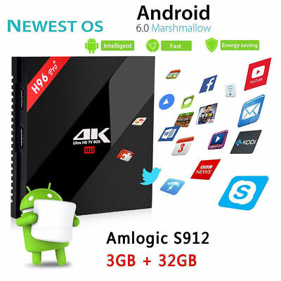 H96 Pro Plus Android 6.0 Amlogic S912 OctaCore WiFi BT 3GB 32GB - NOVASYSTEM