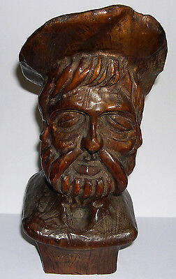 Vintage Wooden Carved Head - Bust of Old European Man - 24cm High - EXC COND.