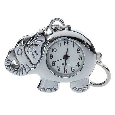 Elephant Shaped Arabic Number Round Dial Watch Key Ring KeychaIn M3S0