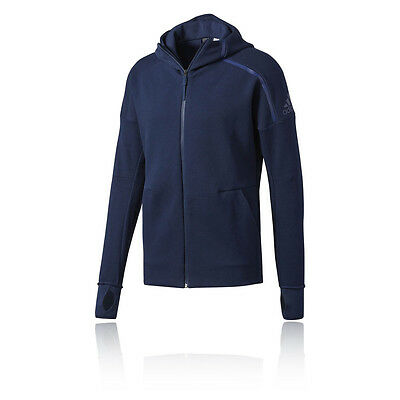 Adidas ZNE FZ Mens Blue Long Sleeve Full Zip Running Hooded Jacket Top