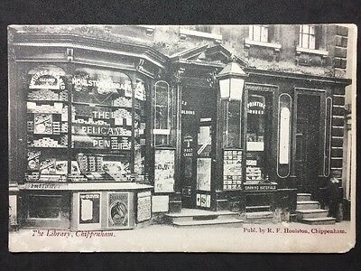 Rare RP Vintage Postcard Wiltshire #C1 - The Library (& Shop) Chippenham - 1906