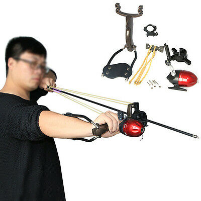 Pro Hunting Fishing Slingshot Target Shooting Catapult Ammo Ball Sling Bow Reel
