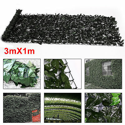 Artificial Ivy Leaf Hedge Screening Privacy Garden Fence Panels Plastic 1m x 3m