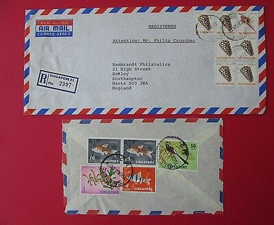 SINGAPORE to england 1978 registered cover and front of cover 1964 stamps