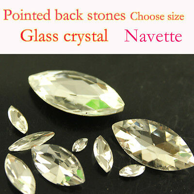 Clear navette crystal Rhinestone Faceted Pointed foiled Back Glass stone pk size